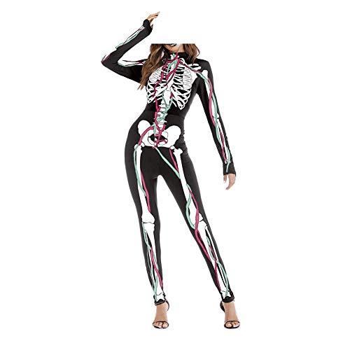 Ideapark Frauen Mädchen Halloween Jumpsuit Kostüme 3D Print Skeleton Haut Anzug Knochen Kostüm Cosplay Overall Overall (A S/M)