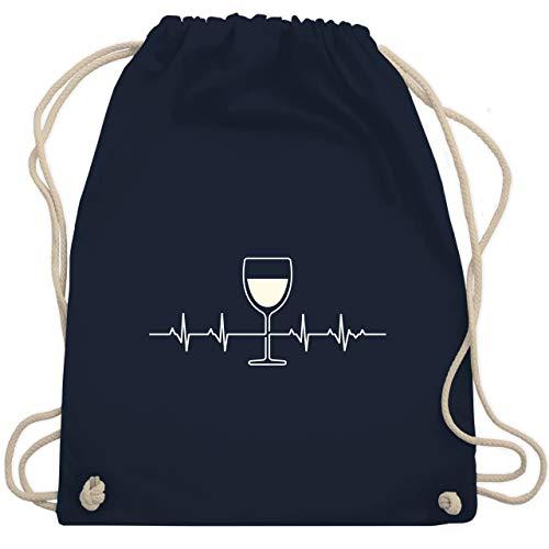 Symbole - Herzschlag Weißwein - Unisize - Navy Blau - WM110 - Turnbeutel & Gym Bag - Symbol Spas