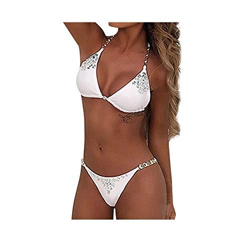 Lialbert Einfarbig Bikini-Set Neckholder SchnüRung Tankini Basic Mode Elegante Badeanzug Damen Split Bademode Mit Strass Push Up Gepolstert Frauen Schwimmanzug