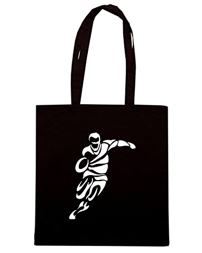 T-Shirtshock - Borsa Shopping TRUG0136 rugby player shape logo Nero