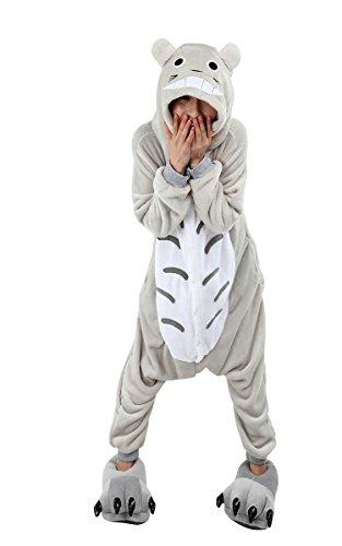 Damen Herren Erwachsene Korallen Fleece Tier Body Kostüm Pullover Pyjamas Schlaf Verschleiß kitty cat / Pikachu / Dinosaurier / Chinchillas / Stich / Giraffen / Kühe / Tigger (M(155-165cm), 8.Totoro)