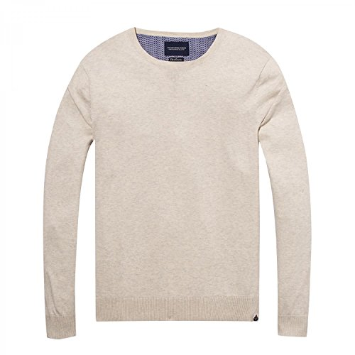 Scotch & Soda Herren Pullover Ams Blauw Crew Neck Knit in Cotton Cashmere Quality Offwhite