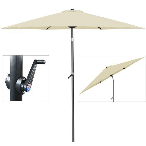 Sonnenschirm Ø 200cm mit Kurbel und Neigevorrichtung - Kurbelschirm Gartenschirm beige