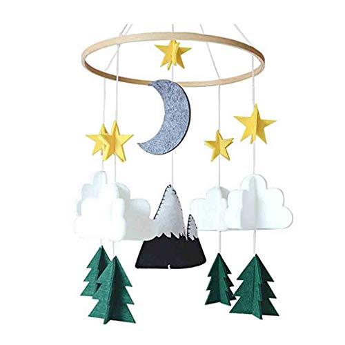 Y56(TM) Weiß Cloud, Stern Mond und Baum Babybett Mobile Bett Filz Spielzeug Zum Aufziehen und Montieren am Kinderbett, Baby Geschenk Wohnkultur (Ausgestopften Hund Spielzeug Die)