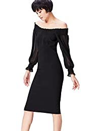 FIND Damen Schulterfreies Midi-Kleid