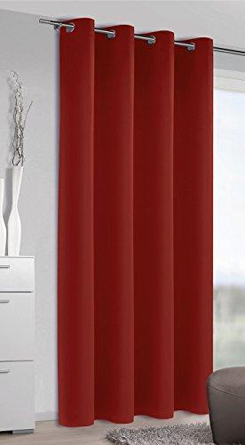 Albani moments blackout 256874 - tenda oscurante con occhielli, in stoffa morbida non trasparente, alta qualità e design alla moda, dimensioni: 245 x 140 cm (a x l), colore: rosso granata