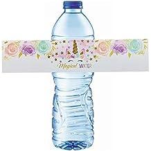 Unicornio Agua Envolturas de botellas, 24 piezas Impermeable Pegatinas, Happy Birthday Etiqueta de la