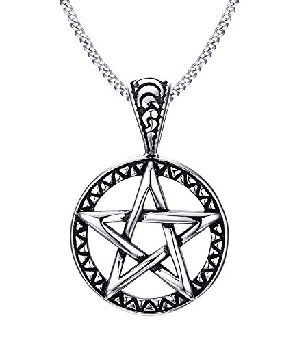 Vnox in acciaio INOX con stella a cinque punte di famiglia Collana con pendente da uomo donna, Wiccan Jewelry
