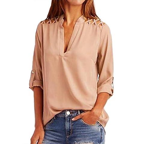 Chemisier Manche Longue Femme,Xjp®Collier V Mousseline De Soie Évider T Shirt Tops (L, Rose)