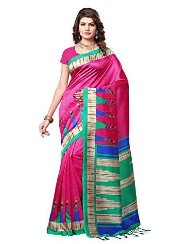 e-VASTRAM Womens Mysore Silk Printed Saree With Tassel/Kutch(RIMZIMP_Pink)