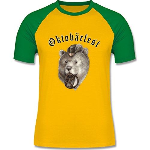Oktoberfest Herren - Oktobärfest - zweifarbiges Baseballshirt für Männer  Gelb/Grün
