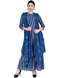 Missprint Women's Hand Block Printed 3/4 Sleeve A-Line Fabric Cotton Boat Neck Flared A-Cut Gown With Waterfall...