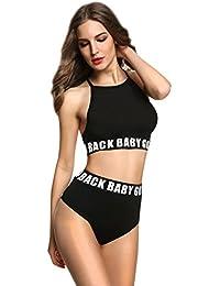 Mujeres en Bikini Talle Alto Cuello Halter Brasileño Bandeau Bikinis de Mujer Escotado por Detrás Bañadores Trajes de Mujer Swimwear Ropa Trajes de Baño Trikini Bikiny Braga Camiseta