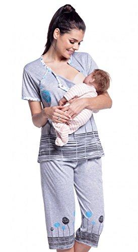 Zeta Ville - Maternité Nuisette grossesse pyjama nuit allaitement - femme - 174c Turquoise