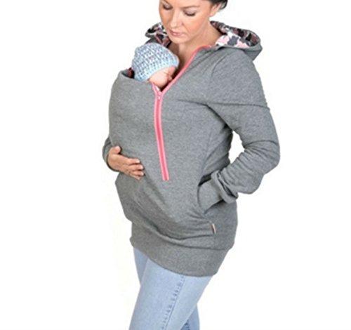 D-Pink Damen Mama Umstands Kapuzenpullover Umstandsshirt Hoodies Sweatshirts Sweatjacke Schwangerschafts Kapuzen Oberteil Tops (Grau) - 2