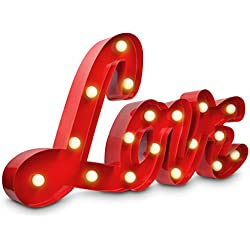 Lampara LED con el simbolo LOVE - letras de iluminacion a bateria