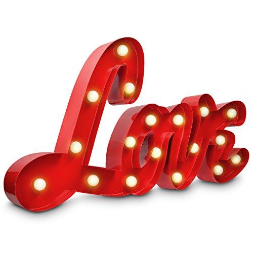 Navaris Scritta luminosa LOVE - Lampada decorazione luci LED con luce calda - Insegna vintage retro con lettere in metallo per interni camera salotto