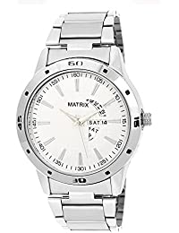 Matrix Silvermine Analog White Dial Stainless Steel Wrist Watch For Men And Boys- DD3-WH-ST