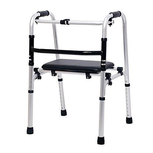 XIHAA Ältere Menschen Walker Höhe Verstellbar, Zusammenklappbar Aluminiumlegierung Riemenscheibe Behinderten Walking Rehabilitation Equipment Badezimmer Bad Stuhl (Ohne Rad)