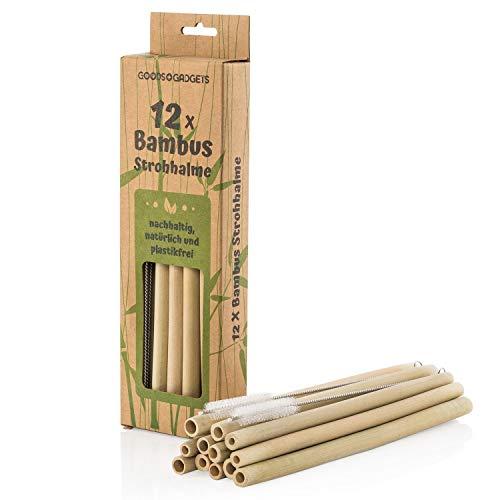 Goods & Gadgets Bambus Strohhalme wiederverwendbar - 12 Stück Set Trinkhalme Bio-logisch mit Reinigungsbürste -