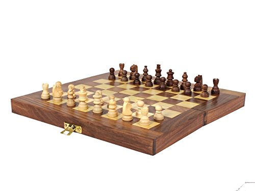 ITOS365 Folding Chess Board Set Wooden Game Handmade, Classic Game of Brilliance, Small Chess Pieces