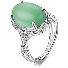 Yoursfs elegante verde opale pietra Anelli per le donne in oro bianco 18plted Dress Gioielli (Verde Diamante Solitario Anello)
