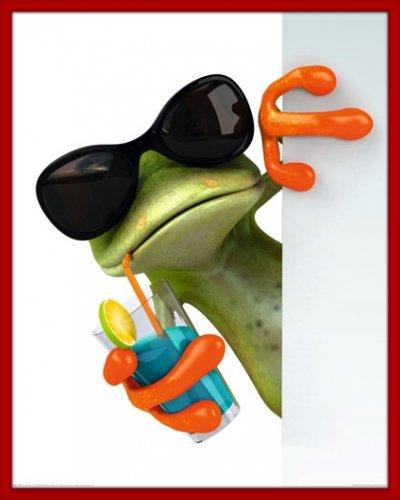 Poster mit Rahmen 40 x 50 cm, Rot - Cooler Frosch mit Sonnenbrille und Drink gerahmt - Antireflex Acrylglas