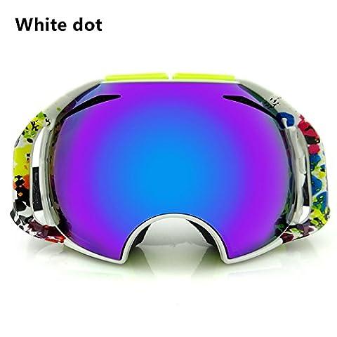 Inovey Anti Fog Double Ski Goggles Multifunctional Riding Goggles -White Dot
