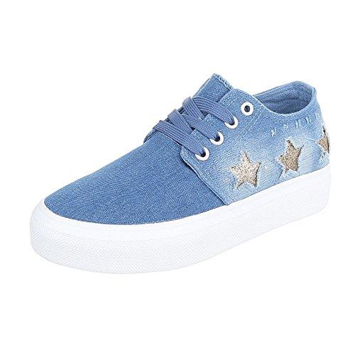 Sneaker Ital-design Sneaker Basse Da Donna Sneakers Basse Con Lacci Scarpe Casual Azzurro