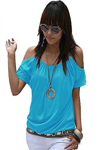 Japan Style von Mississhop Damen Top T - Shirt Bluse Longshirt Tunika Tanktop Oberteil Nata türkis