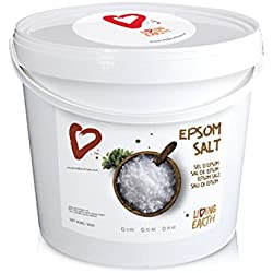5kg - Living Earth - Sales de Epsom (Sulfato de Magnesio). Cubo de 5kg. Propiedades RELAJANTES, ANTIINFLAMATORIAS, SUAVE EXFOLIANTE, ELIMINA TOXINAS. FERTILIZANTE ORGÁNICO para huertos y jardines.