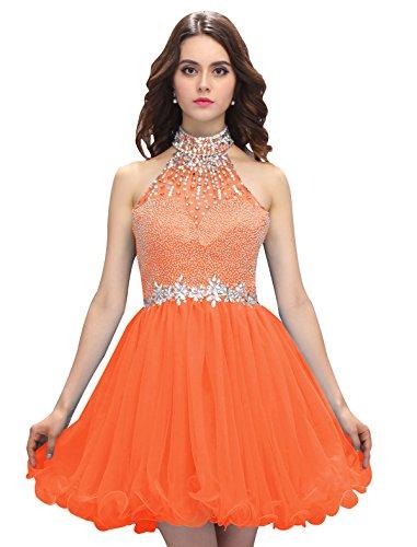 Dressystar Robe femme, Robe de bal/cocktail courte, dos nu, aux strass perles à paillettes, en Tulle Orange