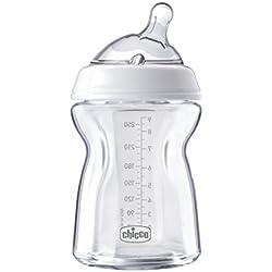 Chicco NaturalFeeling - Biberón de vidrio con tetina redondeada anti cólicos flujo normal, 250ml, 0m+