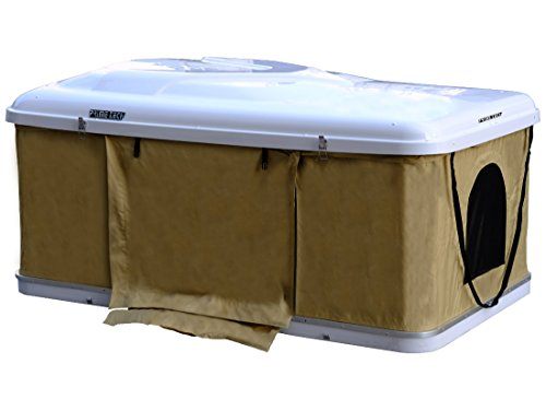 Preisvergleich Produktbild Hartschalen-Autodachzelt 125cm, ABS weiss / beige, Öffnung automatisch von Prime Tech