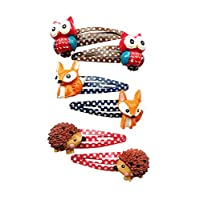 Kids Child Hair Clip With Cute Animal Cartoon Owl and Fox Hedgehog Baby Toddlers Snap Clips Set Little Girls Hair Accessories Clips