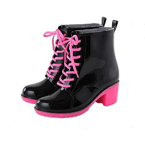Mode Süßigkeiten Farbe Martin Regen Stiefel Black