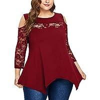 LILICATⓁ ¡¡¡Caliente Moda Costuras de Encaje de Gran tamaño Cuello Redondo Color sólido Mujeres Tallas Grandes Casual Encaje Patchwork Sólido Hombro Abierto O-Cuello Camiseta Tops