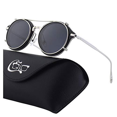 CGID Aufsteck-Sonnenbrille Polarisiert Steampunk Metall Retro Rund Doppelte Gläser UV400 Vintage Runde Spiegelgläser Herren und Damen