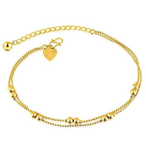 Onefeart 18K Vergoldet Fußkette für Frauen Mädchen Doppelschicht Fußkette Hochzeit Geschenke 25CM Gold