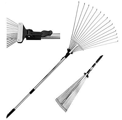 TABOR TOOLS J16A Gartenrechen, teleskopierbare Metall Harke mit teleskopierbare Griff (82-160cm), verstellbare Laubbesen, Zusammenklappbare Werkzeugkopf (20cm - 58cm)