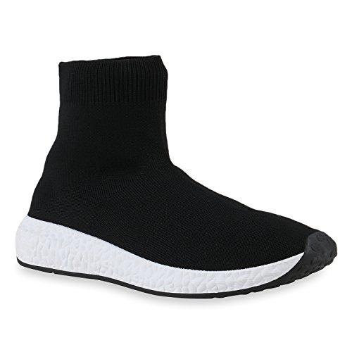 Damen Sportschuhe Laufschuhe Runners High-Sock Socken Sneakers Schwarz