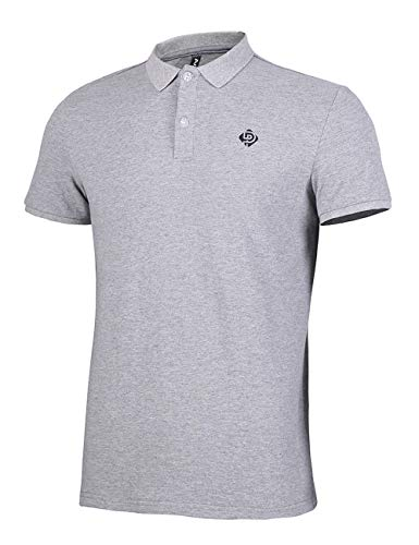 Herren Polo Shirts Kurzarm Poloshirts 100% Baumwolle Sommer T Shirt Basic Stickerei Polohemd Grau Größe:M (Shirt Stickerei)