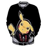 Pokemon Herren Baseballbekleidung Pikachu Christmas Casual Sportjacke Pokémon Apparel Geeignet für Frühling, Sommer, Herbst und Winter L XL XXL,B,XL