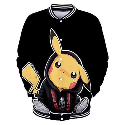 Kostüm Mann Halloween Schlanker - Pokemon Herren Baseballbekleidung Pikachu Christmas Casual Sportjacke Pokémon Apparel Geeignet für Frühling, Sommer, Herbst und Winter L XL XXL,B,XXL