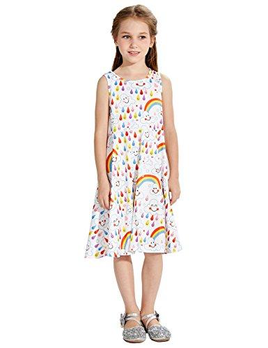 leider Nette Wolken drucken Rundhalsausschnitt Ärmel hoher Taillen - Kind - Kleid Weiß 140 (Mädchen Weiße Sonne Kleider)