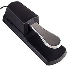 Mugig Pedal de sostenido Universal piano-style Sustain Pedal con interruptor de polaridad diseño Compatible con cualquier teclado electrónico con 1/4toma de entrada