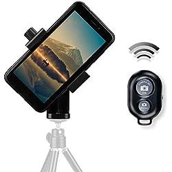 AFAITH Adattatore supporto smartphone per treppiede Cellulare Universale Rotazione di 360 gradi per Fotografia, bastone selfie, iPhone XS/XMAX/XR, Huawei P9 P10(include bluetooth telecomando) - PA074