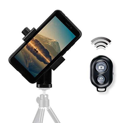 AFAITH Handy-Stativ-Adapter, Universal Smartphone-Mount-Adapter-Halter + Bluetooth Auslöser Fernbedienung für iPhone XS Max/XS/XR/8 Plus Samsung Galaxy S9 Plus Drehen vertikal oder horizontal PA074 Handy-adapter