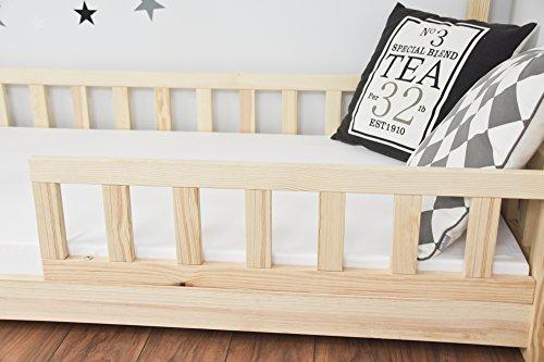 Best For Kids Kinderbett Kinderhaus mit Rausfallschutz Jugendbett Natur Haus Holz Bett mit oder ohne 10 cm Matratze in 3 Größen (90x200 cm ohne Matratze) - 5