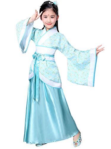 Kultur Kostüm Kinder - BOZEVON Hanfu - Kinder Traditioneller Tanz Tang Anzug Mädchen Kostüm Performance Kleidung,Blau,EU 150=Tag 160